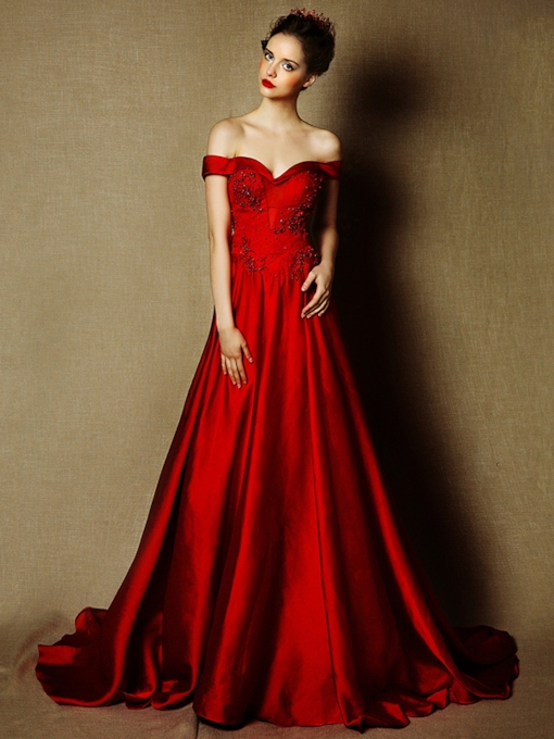 A-Line Lace Off-the-Shoulder Beading Court Train Evening Dress