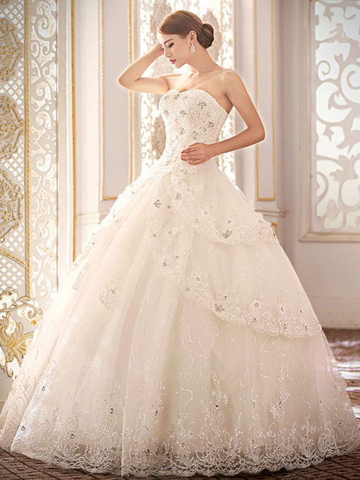 Sweetheart Beading Lace-Up Ball Gown Wedding Dress
