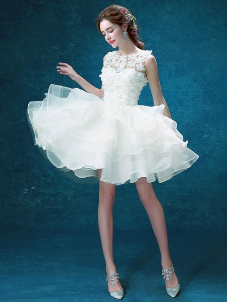 Flowers Tiered Ruffles Short Beach Wedding Dress