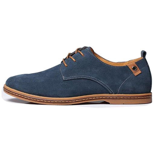 Round Toe Lace-Up Front Flat Heel Buckle Men's Loafers