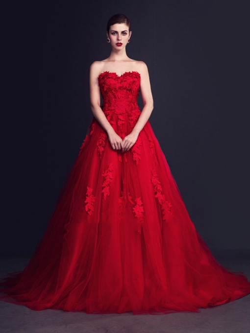 Red Tulle Flowers Court Train A-Line Wedding Dress