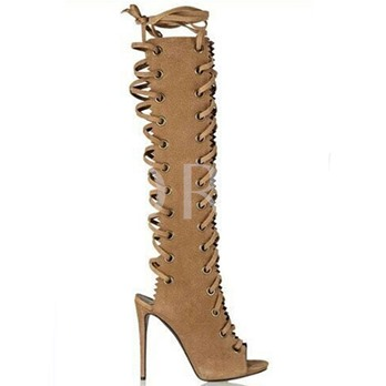 Peep Toe Lace-Up Plain Zipper Cross Strap Women's Boots