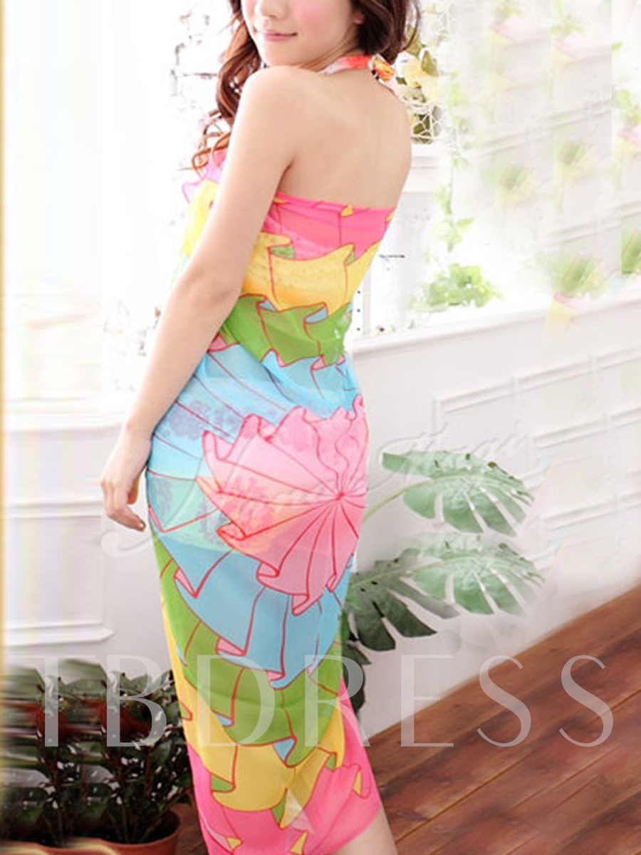 Chiffon Flower Printed Women's Cover Up