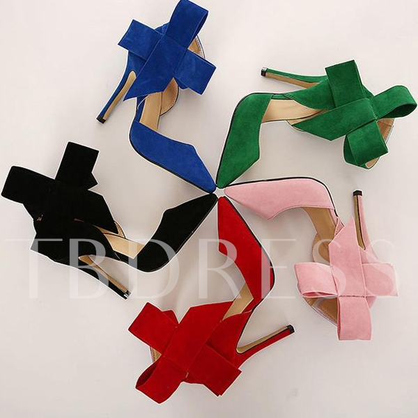 Bowknot Closed Toe High Heel Women's Prom Shoes (Plus Size Available)