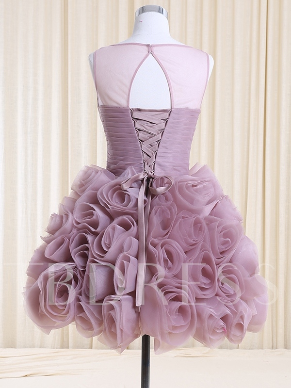 A-Line Bateau Neck Handmade Flowers Homecoming Dress