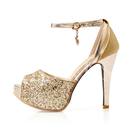 Sequins Heel Covering Peep Toe Women's Sandals