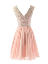 Round Neck A-Line Beading Short Cocktail Dress