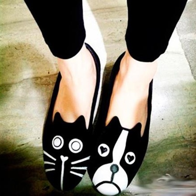 Cartoon Low Heel Round Toe Women's Flats (Plus Size Available)