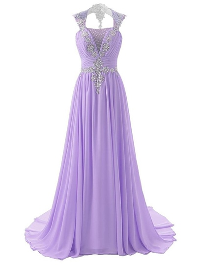 V-Neck Crysatl A-Line Court Train Evening Dress