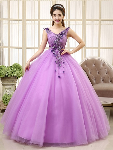 V-Neck Appliques Ball Gown Floor-Length Quinceanrea Dress