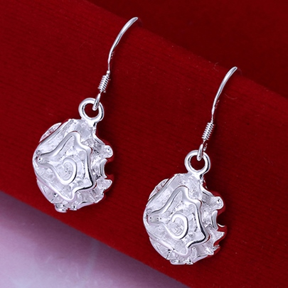 Silver Rose Pendant Earrings