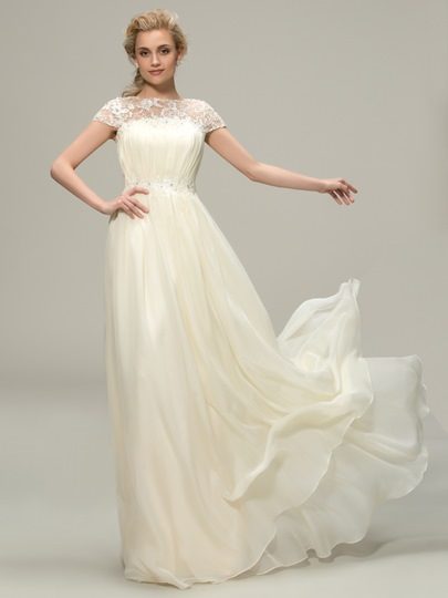 Cap Sleeves Lace Chiffon Long Wedding Bridesmaid Dress