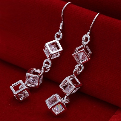 Silver Box String Earrings