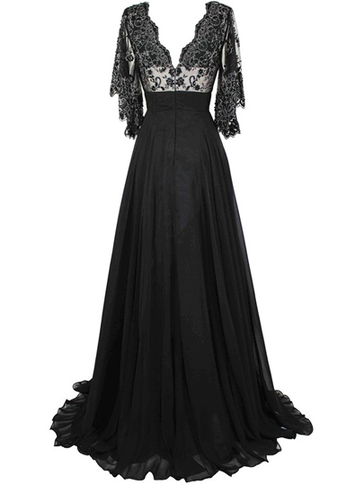 V-Neck A-Line Sheer Sleeve Embrodiery Evening Dress