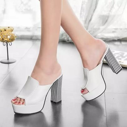 Stripes Peep Toe Chunky Heel Women's Slippers