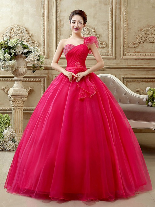 One-Shoulder Ruched Beaded Quinceanera Dress