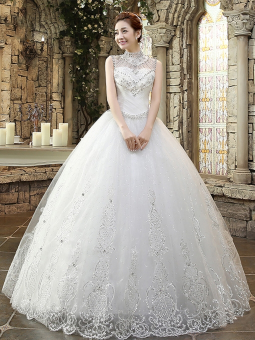 Sequins Beading Ball Gown High Neck Wedding Dress