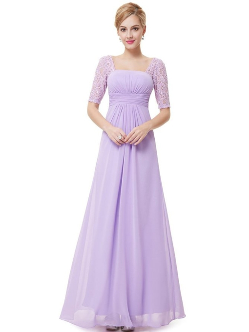 Square Neck A-line Half Sleeve Floor-Length Evening Dress