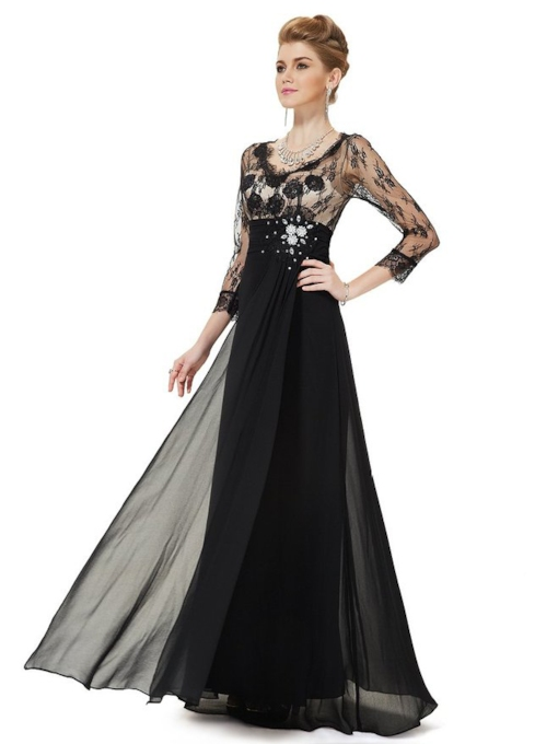 3/4 Sleeve Length V-Neck A-line Lace Evening Dress
