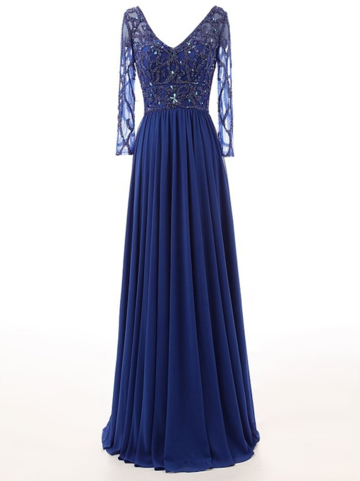 A-Line V-Neck Beadings Long Evening Dress