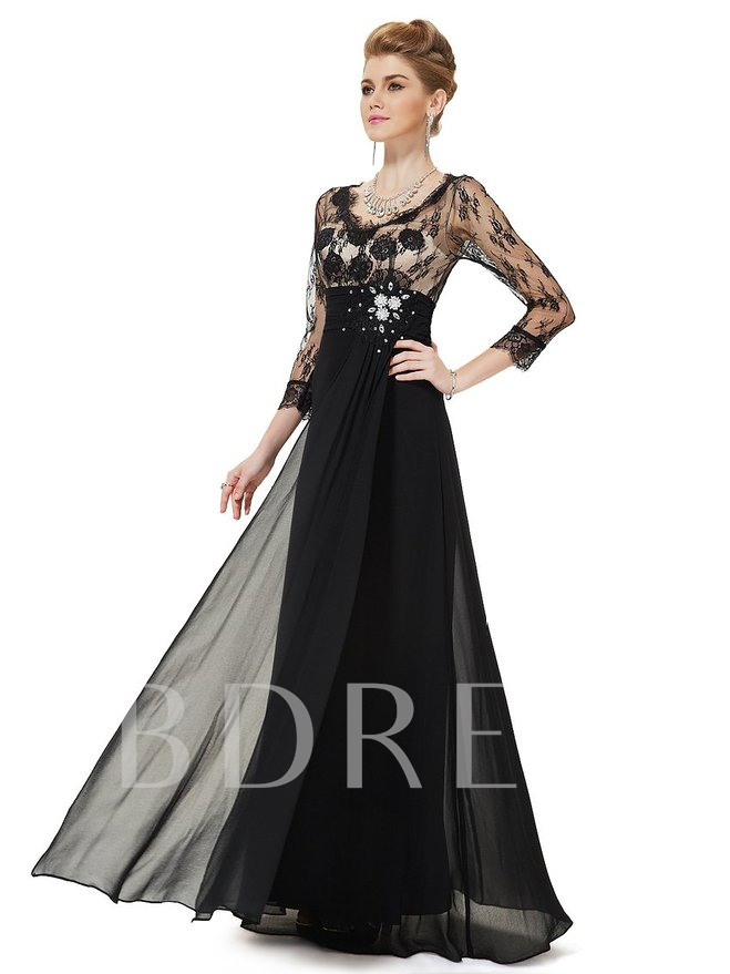 Image of 3/4 Sleeve Length V-Neck A-line Lace Evening Dress