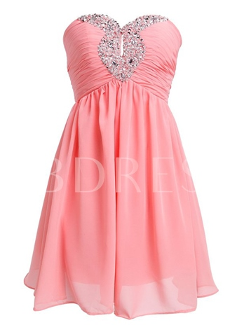 Hollow A-line Sweetheart Beading Mini Homecoming Dress