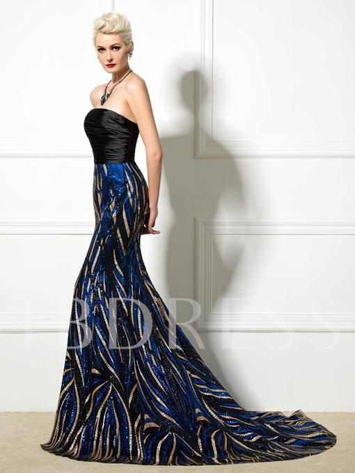 Mermaid Strapless Sequins Court Train Evening Dress