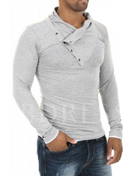 Button Decorated Solid Color Long Sleeves Men's T-shirt