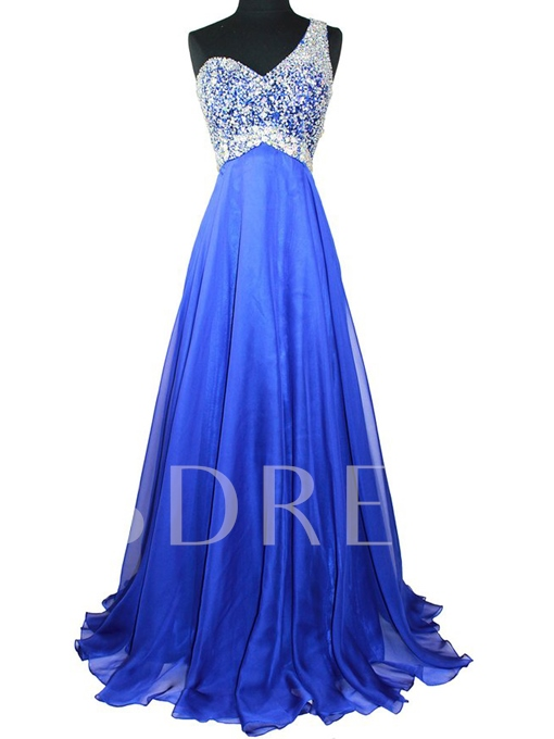 One-Shoulder A-Line Beading Floor-Length Prom Dress