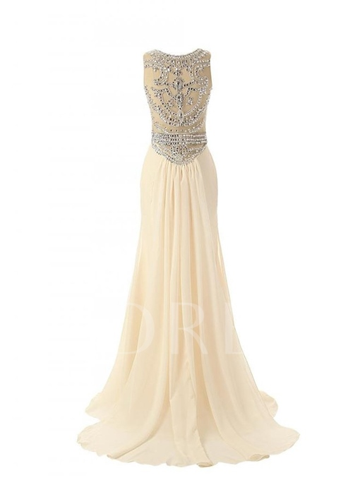 Jewel Neck Beading A-Line Floor-Length Prom Dress
