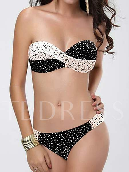 Strapless Polka Dots Pleated Bikini Set