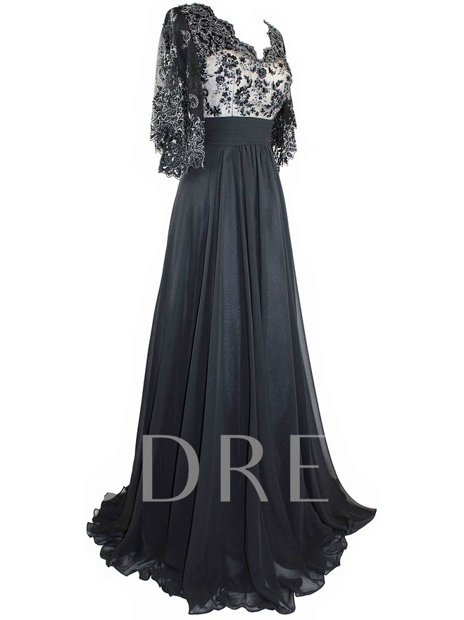 Sheer Sleeves Beading Embrodiery Lace Evening Dress