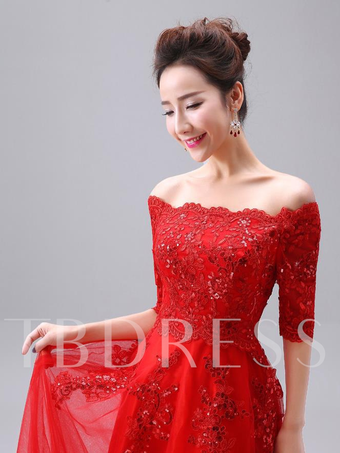 Half Sleeve Appliques Beaded Off-the-Shoulder A-Line Evening Dress