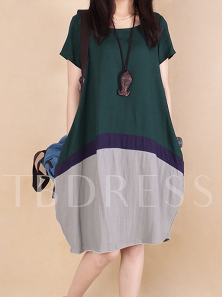 Color Block Plus Size Linen A-Line Women's Day Dress