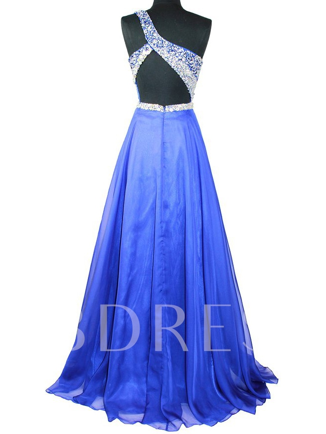 One Shoulder Beading Dark Royal Blue Prom Dress