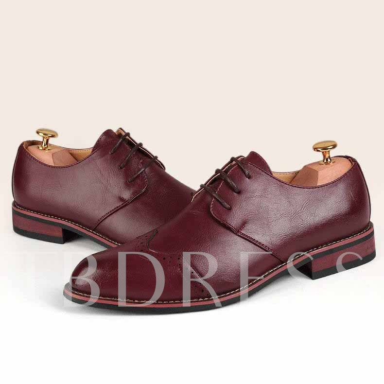 Pointed Toe Lace-up Square Heel Men's Derbies