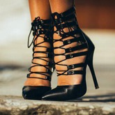 Hollow Strappy Stiletto Heel Women's Sandals (Plus Size Available)