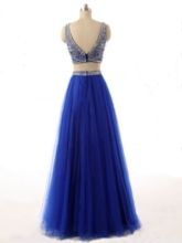 Two-Pieces Bateau Neck Beadings Floor-Length Prom Dress