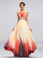 A-line Straps Printing Backless Floor-Length Evening Dress