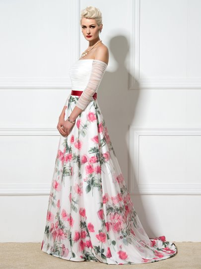 A-Line Off-the-Shoulder Flower Printed Evening Dress