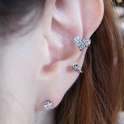 Sweet Love Shape Full Drill Ear Clip