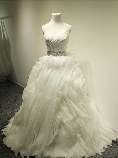 Ivory Scalloped-Edge Cascading Ruffles Pleats Beading Wedding Dress