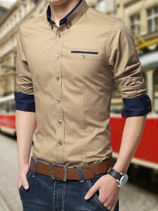 Solid Color Pocket Long Sleeves Cotton Men's Shirt