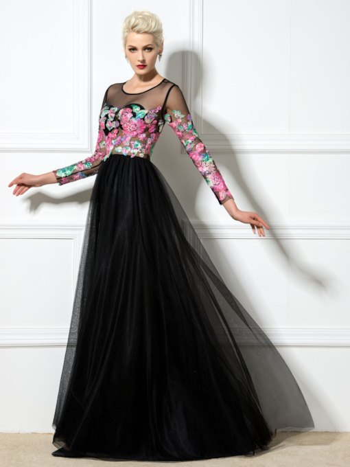 A-line Round Neck Lace Flower Long Sleeve Backless Evening Dress