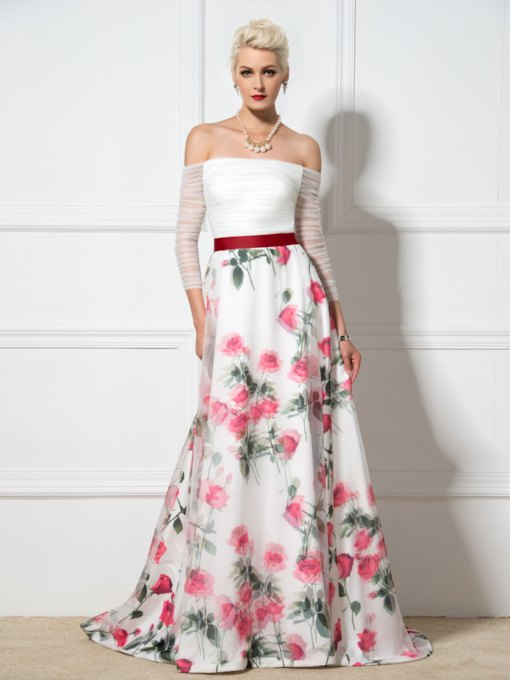 Long Sleeves Off-the-Shoulder Floral Printed Evening Dress