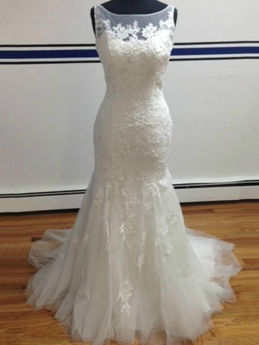 Bateau Neck Trumpet/Mermaid Sheer Back Lace Wedding Dress