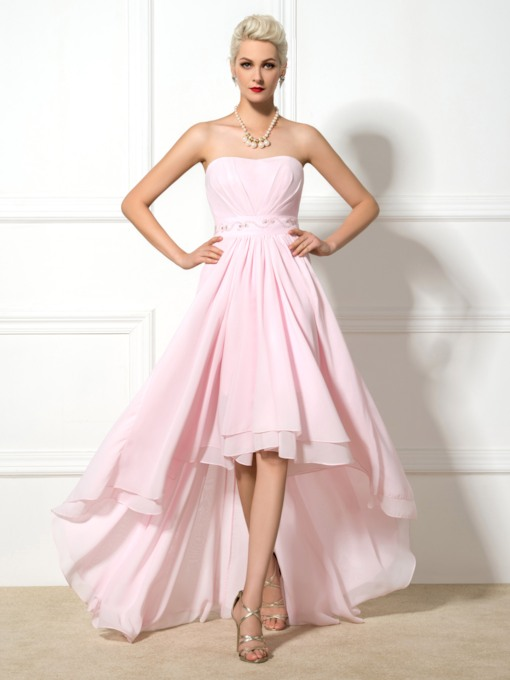 High Low Beading Chiffon Prom Dress