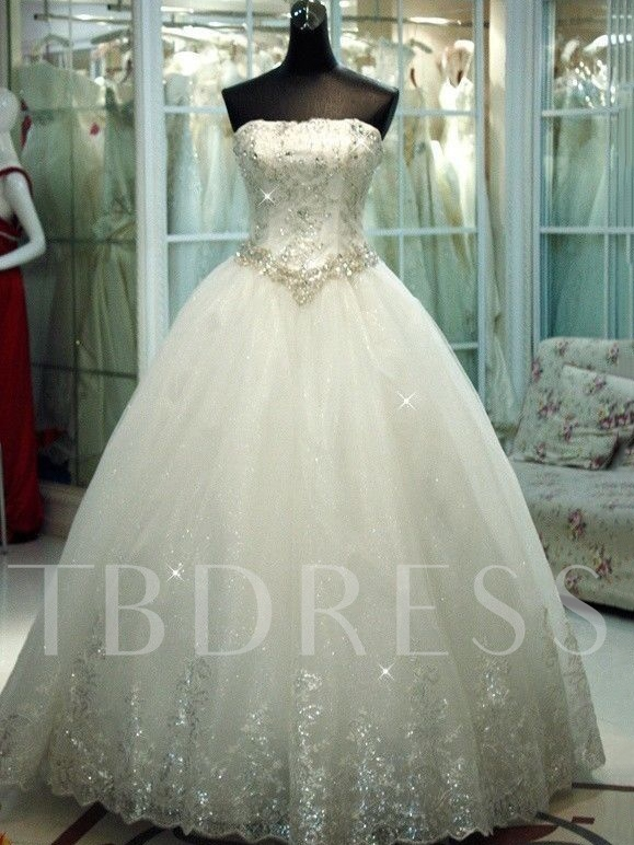 Image of Sequines Appliques Plus Size Ball Gown Wedding Dress