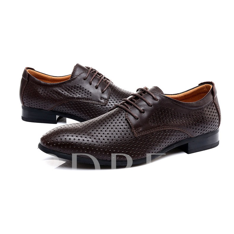 Lace-Up Front Square Heel Men's Oxfords