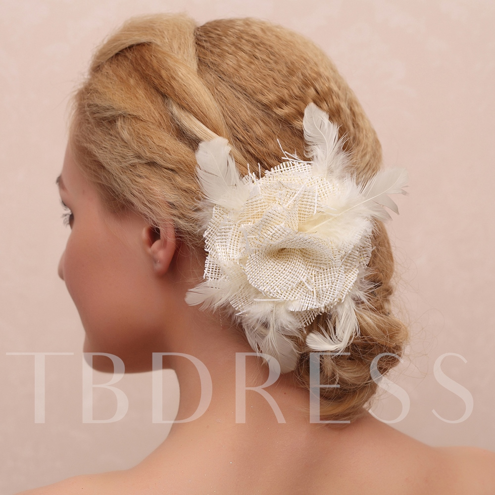 Feathers Net Wedding Hair Flower